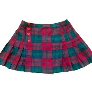Vintage Plaid pleated preppy red and green mini